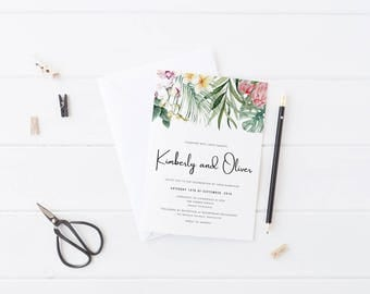 Tropical Wedding Invitation Suite, Printable or Professionally Printed, Watercolour Floral Frangipani, Garden Wedding, Kimberley Suite