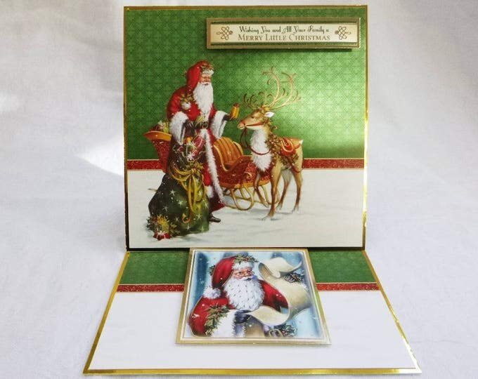 Traditional Christmas Card, Greeting Card, Easel Card, Santa and his Reindeer, Male or Female, Any Age, Mum, Dad, Brother, Sister