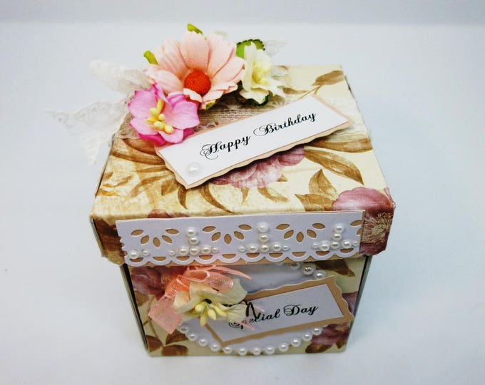 Exploding Box Birthday Card, Greeting Card, Flowers and Butterflies, Floral,  Pink and White, Female Any Age