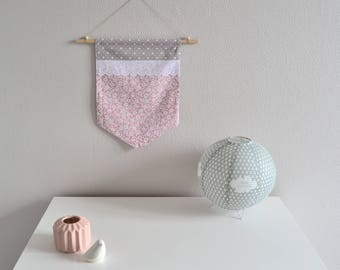 Banner / wall decor in pink / grey / white