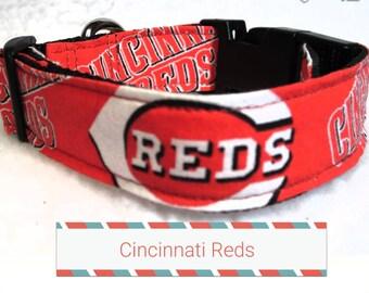 "Cincinnati Reds Dog Collar, Dog Collars, Side Release Dog Collar, Small Dog Collar, Large Dog Collar, Dog Collar, 1"" & 1.5"" Inches Wide"