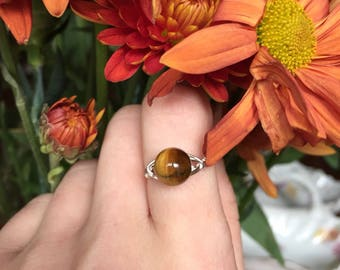 Tigereye Ring with Silver-Plated Wire | Small Tigereye Ring | Round Tigereye Ring | Tigereye Jewelry | Tigereye Ring | Brown Ring | Gift