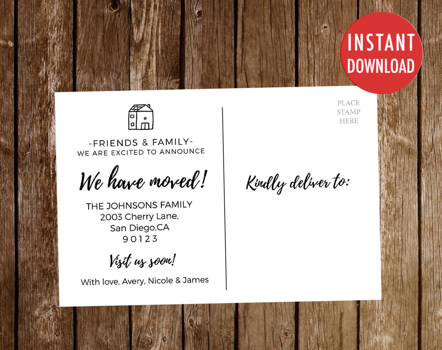 Weve Moved Postcards Template Moving Announcement We Moved - New address postcards template