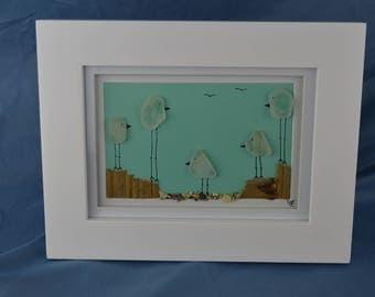Bird scene seaglass art, 9in x 7in framed seaglass, coastal decor, 5 birds, beach house wall art, coastal gift