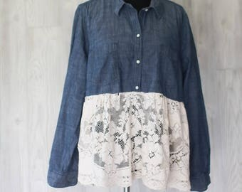 Lagenlook Romantic Tunic top Chambray and Vintage Lace Mori Girl Upcycled Recycled Artwear Plus Size OOAK
