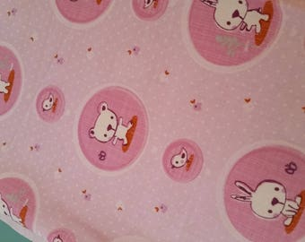 Pink Teddy bear patterned cotton fabric