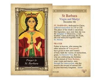 St. Barbara Laminated Holy Card - one card