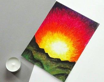 Sunset landscape dusk mountain art original oil pastel drawing red sky artwork bright home decor Nightfall by Caerys Walsh