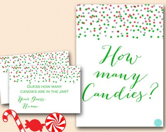 Christmas Candy Guessing Game Printable, Guess how many candies in Jar, Christmas Game, Christmas Activity BS468