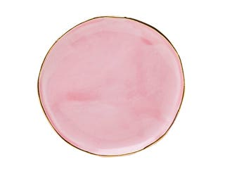 Large Porcelain plate with Gold- Pastel Pink