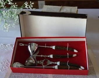 Vintage Japan utensils bar set in original box - Silver tone and resin handles - Man cave
