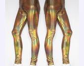 Holographic Gold Festival Meggings Men's Leggings for Burning Man