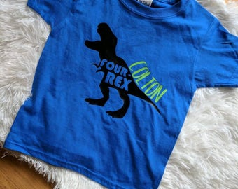 Dinosaur birthday shirt, fourth birthday dinosaur shirt, boys dinosaur birthday shirt, four rex birthday shirt, custom birthday shirt