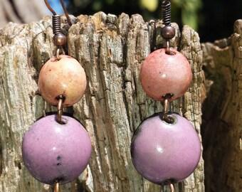 Copper earrings - enamel on copper - plum, purple, trio