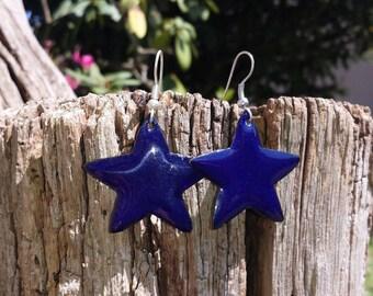 Boucles d'oreilles étoiles - bleu nuit - émaux sur cuivre