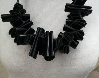 Ruffle Black statement leather necklace, black necklace, Leather Jewelry, Evening Necklace Statement Jewelry Gift for Her