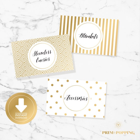Gold Baby Drawer Divider Labels Baby Clothes Divider Drawer