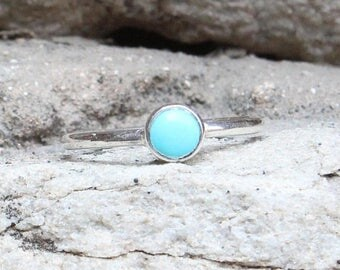 On Sale Natural Turquoise Round Cab Silver Ring - US6.25 -  Handmade Ring - Gift Ring - Ring for Her - Handmade Silver Ring- Carnelian Ring
