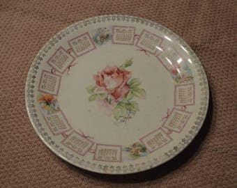 Anitque 1908 Calendar Plate, Pickering's Store Premium, W.M. Brunt Pottery Co. (R)
