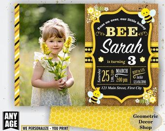 Bumble Bee Birthday Invitation Party Chalkboard Invite Burlap Rustic Digital Printable Black Yellow Boy Girl Flowers photo photograph BDBee6