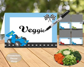 Race car Food Tent Labels Birthday Buffet Name Dinner Blue Red Green Instant Download / Baby shower / Birthday / FTCar1