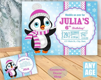 Winter Wonderland Birthday invitation Birthday invite Blue Purple Aqua Teal Penguin invites Photo Invitations Christmas Holiday BDW34
