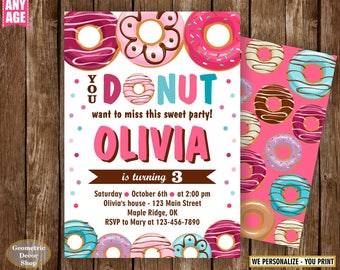 Donut Birthday Party Invitation doughnut Party Invitation girl birthday pink purple teal Digital PRINTABLE ANY AGE photo photograph BDonut5