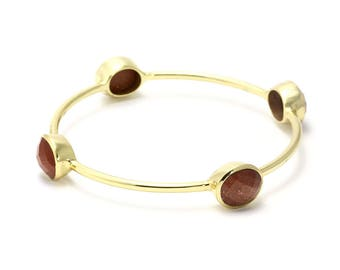 Goldstone Bracelet, 925 Sterling Silver, Unique only 1 piece available! , color brown, weight 18.9g, #45080