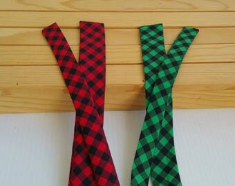 """RTS Bow kits, Bow strips, 1"""" and 1.5"""" wide sizes, red, green, buffalo plaid fabrics, hand tied kits for bows, holiday gifts"""