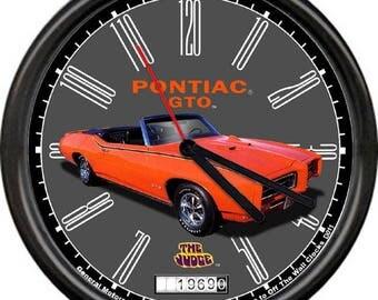 1969 Pontiac GTO Judge Orange Convertible Retro Vintage Sign Wall Clock