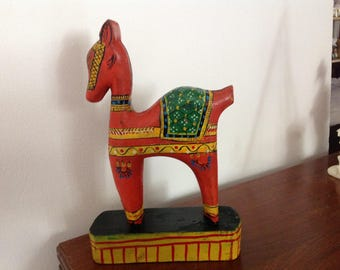 Vintage Painted Wooden Horse from India