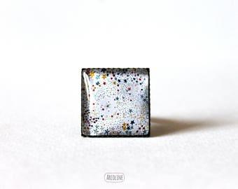 Ring square 20 mm° Retro Cabochon (stars)