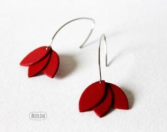 Earrings Lotus petals leather Red ° ° °