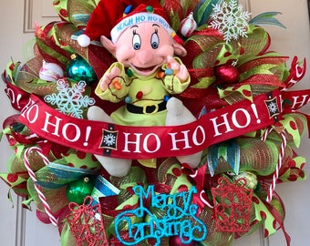 "Dopey from Snow White and 7 Dwarfs Christmas Wreath with Dopey Making a Mess Out of Christmas Lights! Press his hand for ""Jingle Bells"" Tune"