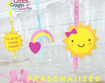"12 Personalized ""You are my Sunshine"" Themed Party Cups with Lids and Straws!"
