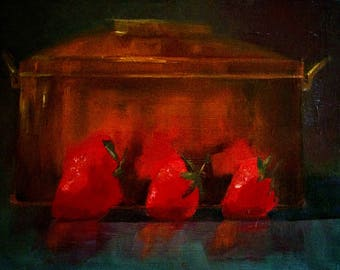 Three in a row fruits still life oil painting