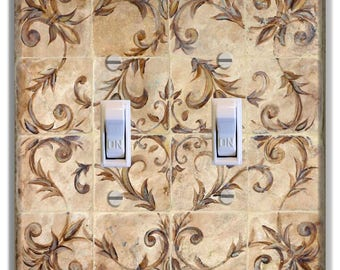 French Floral Tile Look Light Switch Plate Cover Lake House Beach House Cabin Decor