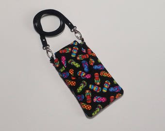 Cell Phone Smart Phone Wallet with crossbody strap in Flip Flop Fabric