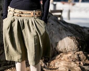 Knee-length A-line skirt | casual skirt with deep pockets | custom made hemp skirt | ethical clothes | stylish skirt