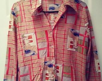70's Asian Print Button Shirt
