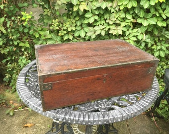 Old Antique Wooden Box With Lovely Metal Trimm - lovely display box