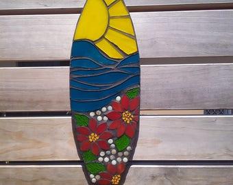 Mini surfboard, beach house art, outdoor mosaic, surf art,