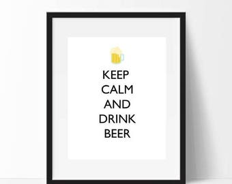 CIJ Sale Keep Calm and Drink Beer Print, Printable Mens Gift, Beer Art Gifts for Dad, Keep Calm Poster, Man Cave Decor, Instant Download