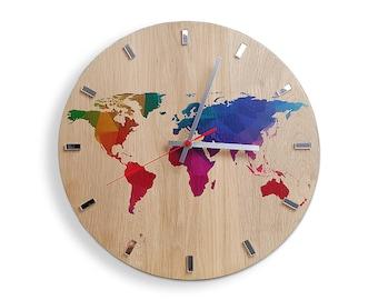 Map clock etsy large wall clock oak 13 in world map wall clock wood clock sciox Images