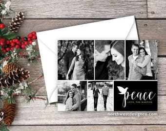 Black and White Peace Christmas Card Holiday Card Just Married Christmas Card Photo Card Xmas Hanukkah Card Custom Colors DIGITAL or PRINTED