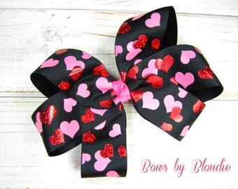 Large Basic Heart Metallic bow!