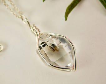 NY HERKIMER DIAMOND Crystal Pendant - 9x14 mm - Sterling Silver Crystal Pendant - Mariel Cristofar Jewelry - Herkimer Diamond Pendant- N49