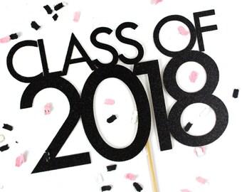 Class of 2018 Graduation Cake Topper | Grad Cake Topper | Black Glitter 2018 Topper | Graduation Cake Accessory | Graduation Party Decor