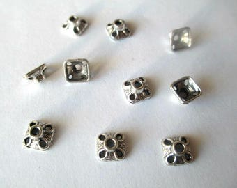 20 bead caps in metal antique silver 8.5 mm