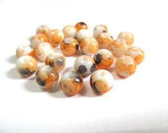 50 white speckled orange and black 6mm glass pearls